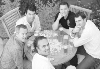 Rob Reid, Patrick McKenna, Tod Sacerdoti, Auren Hoffman, Scott Faber - playing Settlers